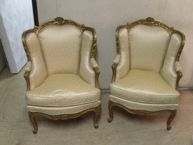 Pair Of Bergères In Golden Wood Nineteenth Time