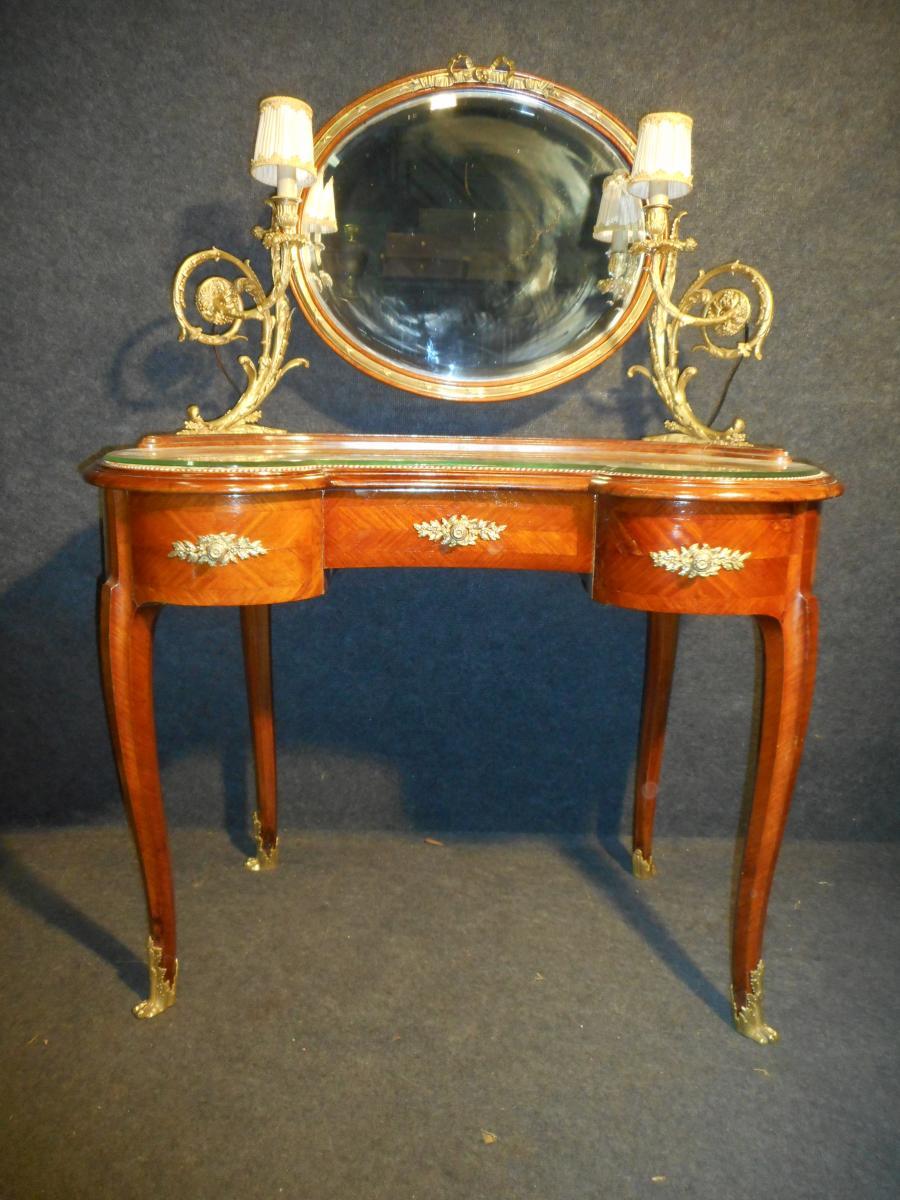 Art Nouveau Period Dressing Table Mahogany And Gilt Bronze