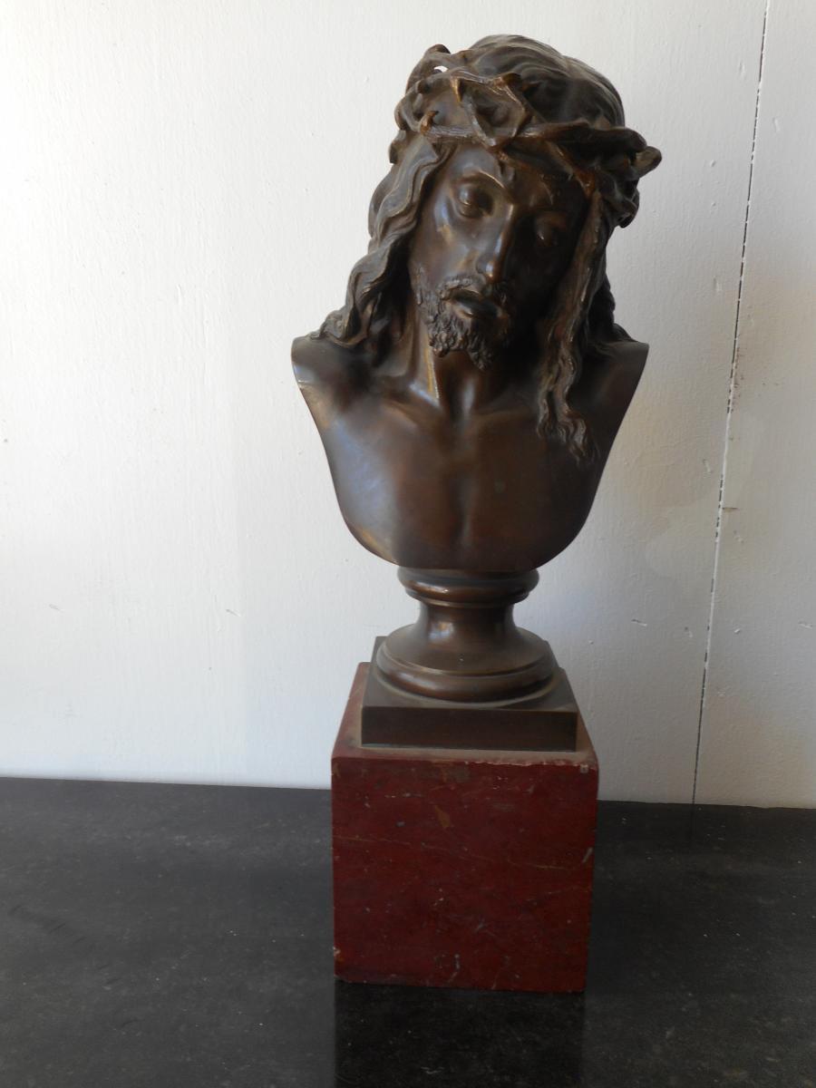Bronze Bust Christ Signed Léon Pilet (1836-1916)