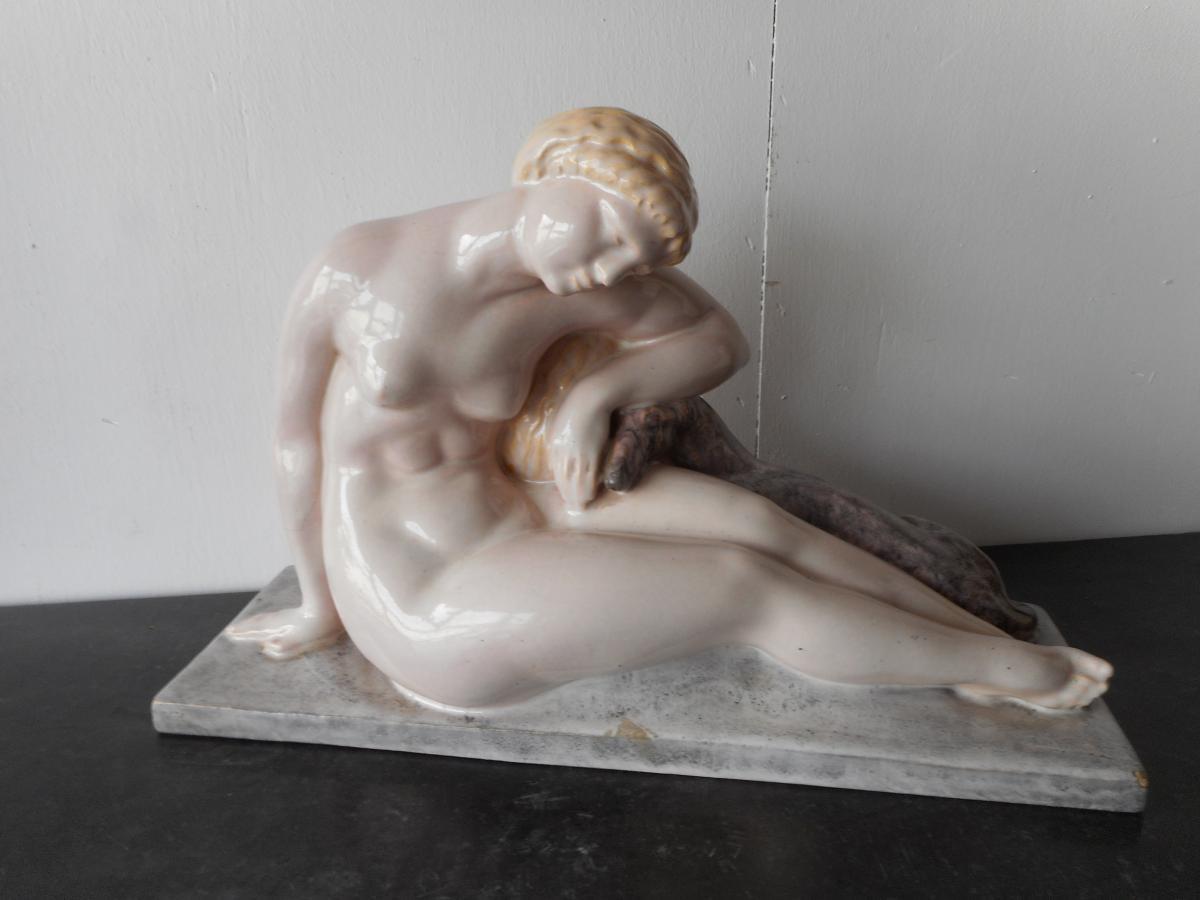 Grande Ceramique Georges Chauvel 1886-1962 Pour Marcel Guillard Et Andre Fau Boulogne