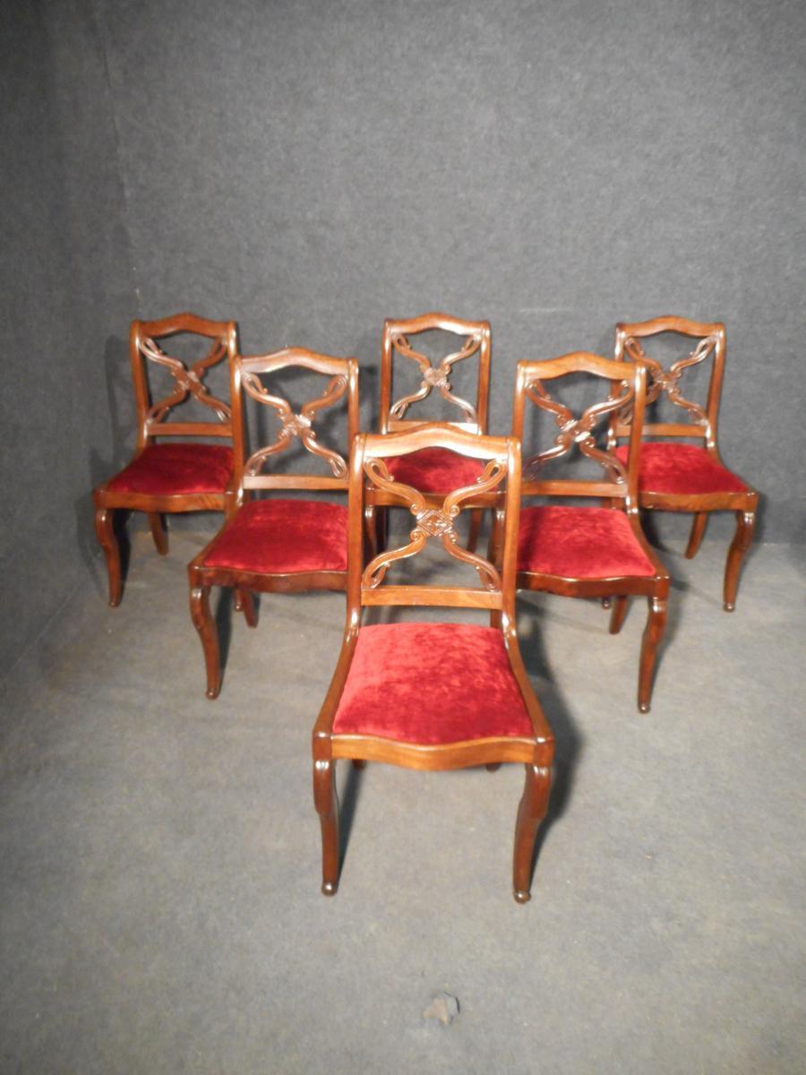 Serie De 6 Chaises époque Restauration En Acajou De Cuba