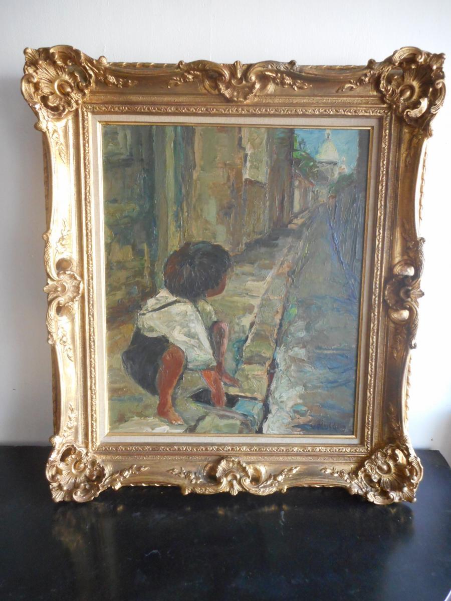 Tableau enfant dans rue de Montmartre Signé époque 1940