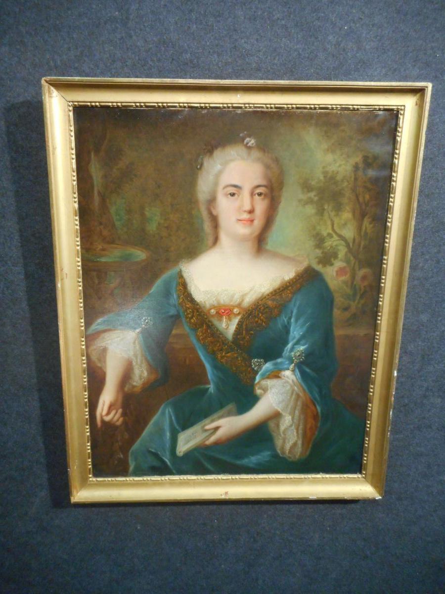 Portait Femme Huile Sur Toile époque Fin XVIIIe