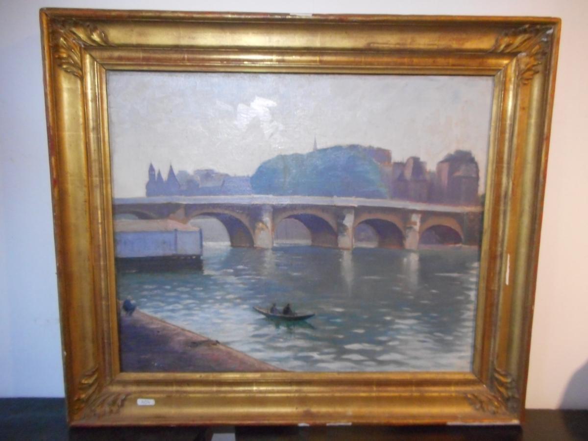 Tableau Vue Pont De Paris Avec Bord De Seine époque fin XIXe
