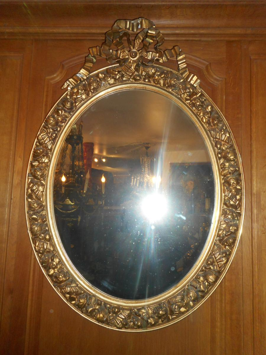 Large Golden Mirror Oval Early Nineteenth Time