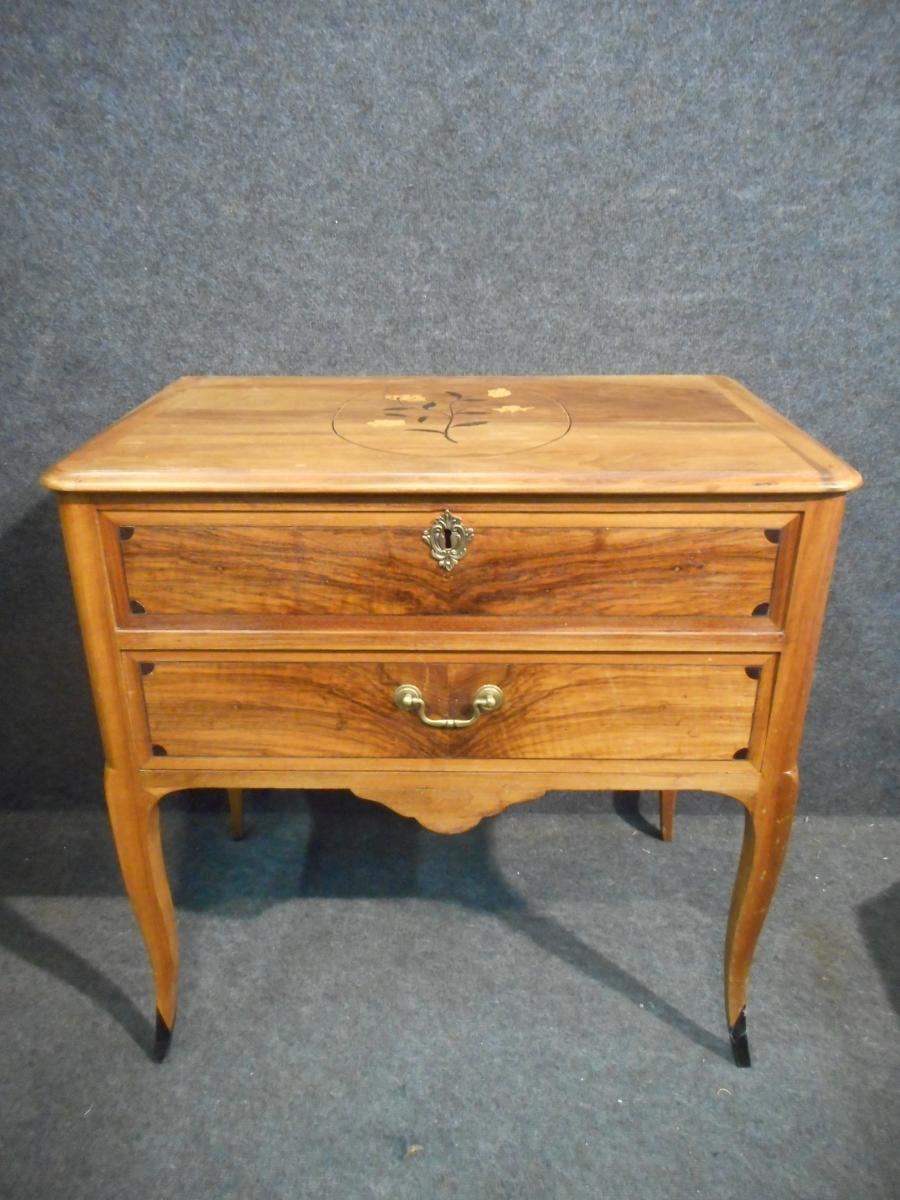 Walnut Commode End XVIIIth Flower Marquetry