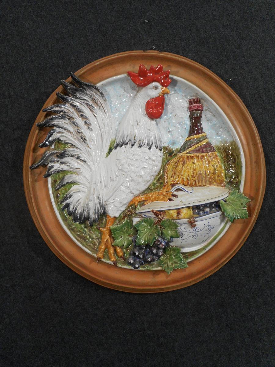 Ezio Ceccarelli 1865-1927 Grand Médaillon Dédiée Au Vin En Terre Cuite émaillé