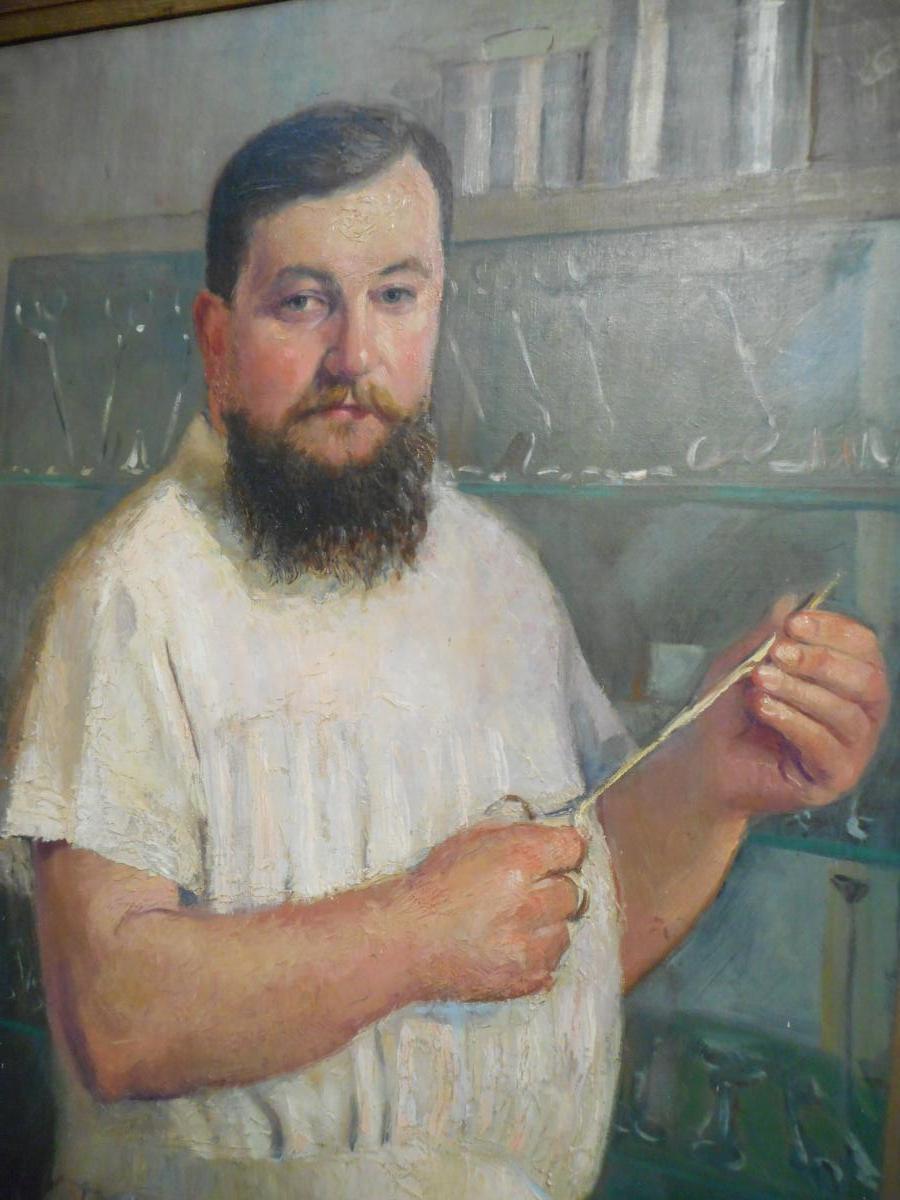 Grand tableau medecin huile sur toile signé Willem daté 1915-photo-3
