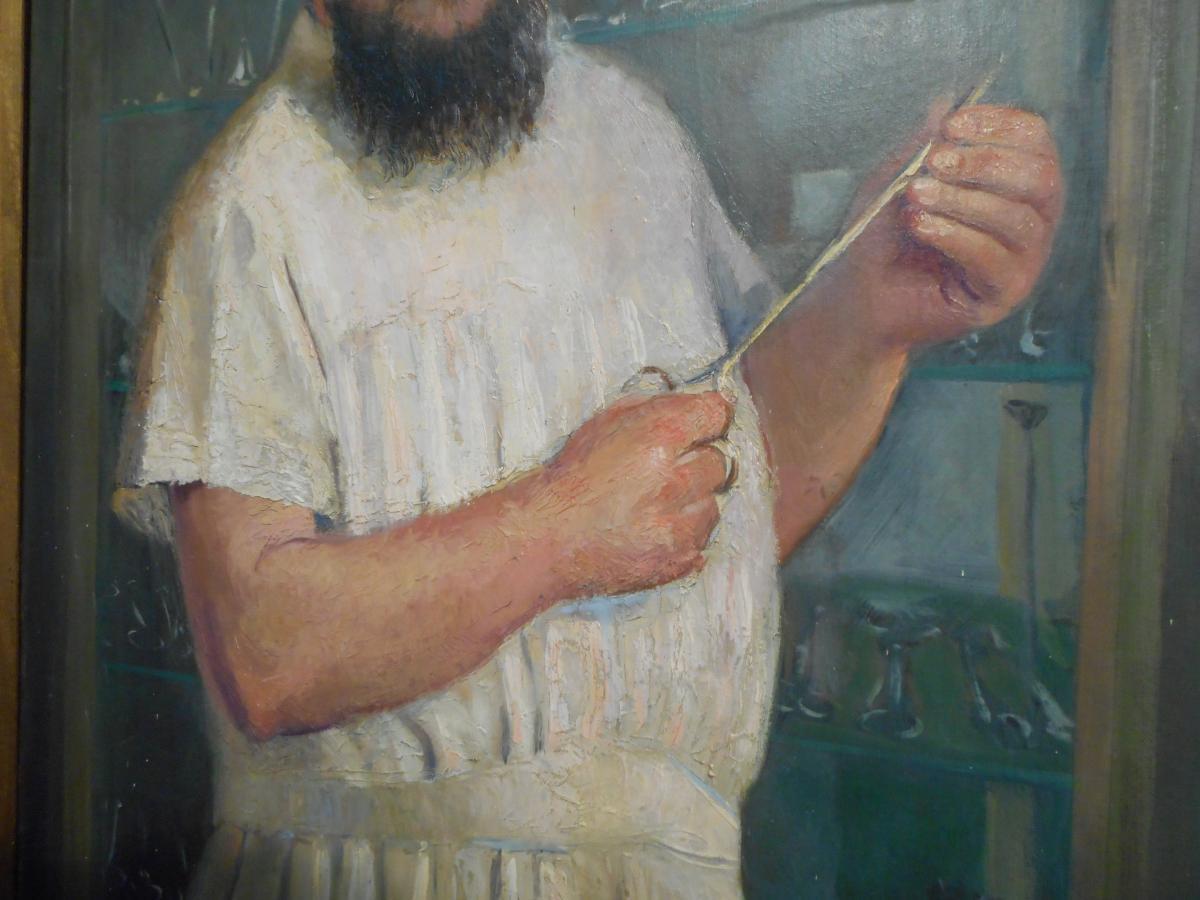 Grand tableau medecin huile sur toile signé Willem daté 1915-photo-4