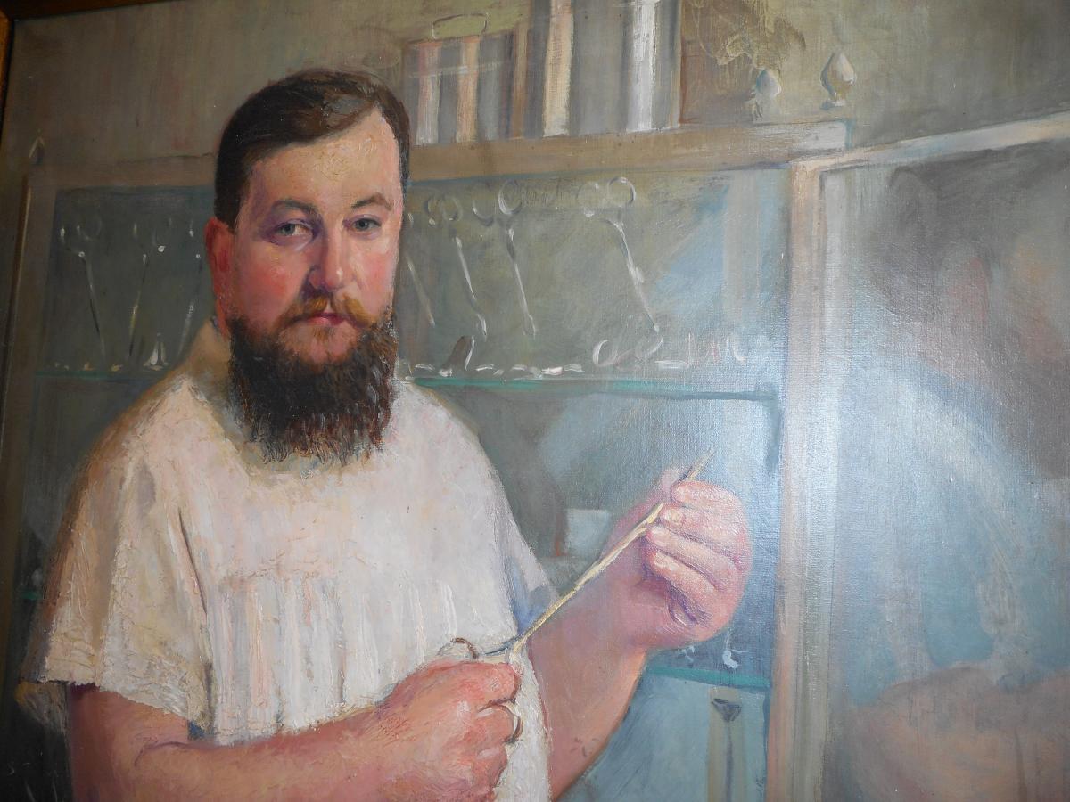 Grand tableau medecin huile sur toile signé Willem daté 1915-photo-1