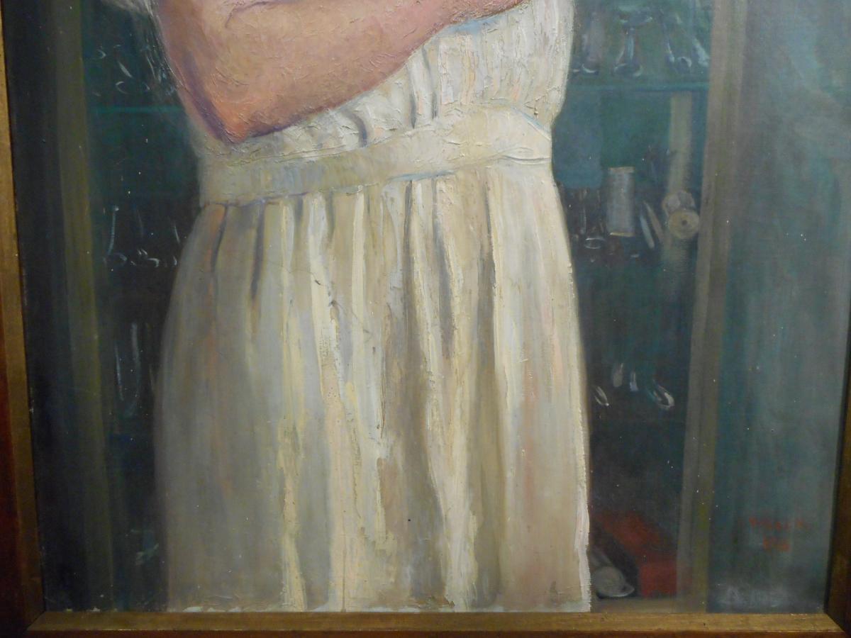 Grand tableau medecin huile sur toile signé Willem daté 1915-photo-2