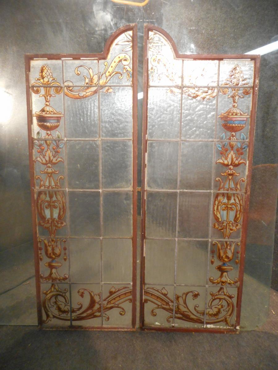 Paire De Portes Vitrail Art Nouveau