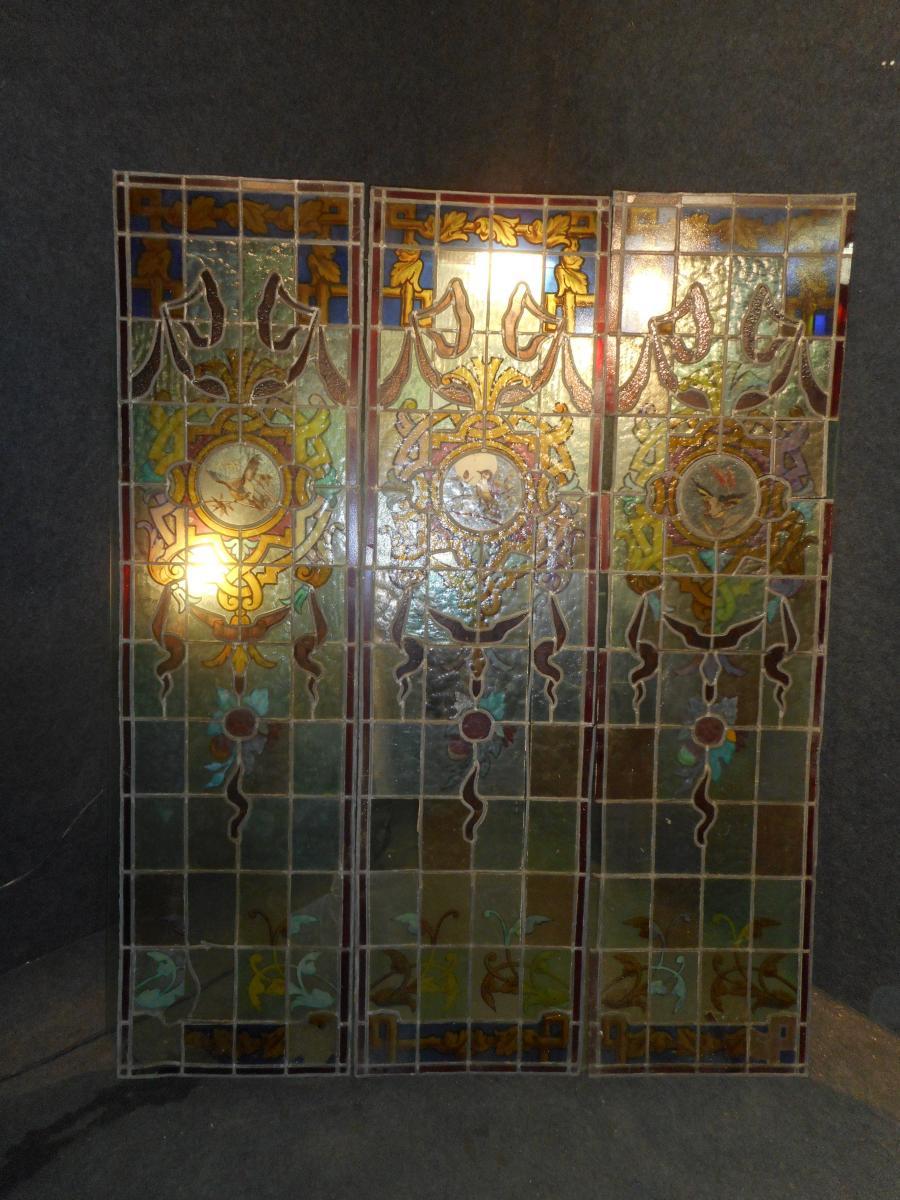Série De Vitraux époque Art Nouveau