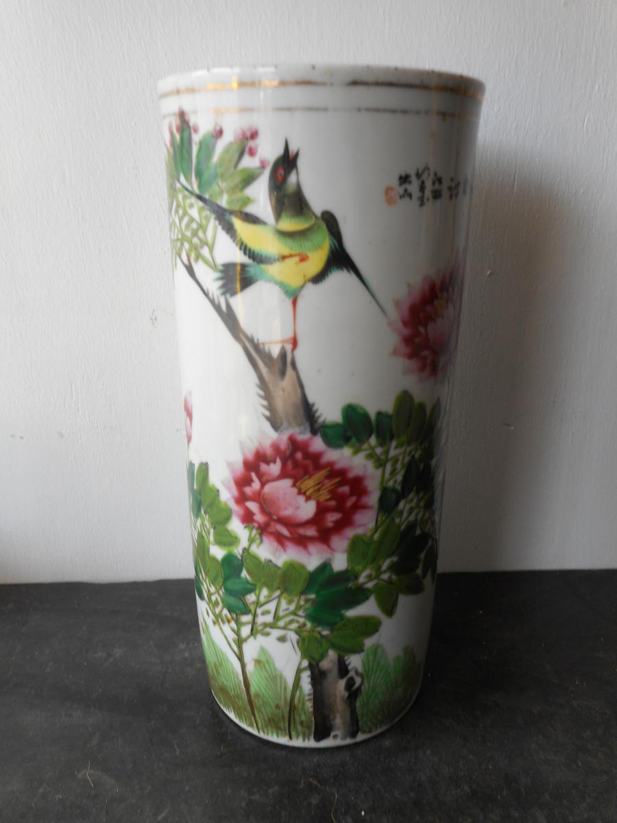 Vase Rouleau Chine époque XIXe Signé et Cachet de cire