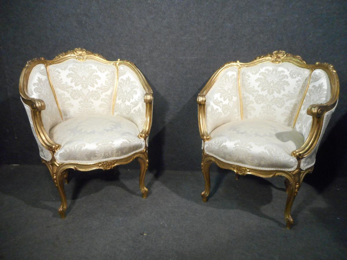 Pair Of Reclining Armchairs In Golden Wood Early Nineteenth Time