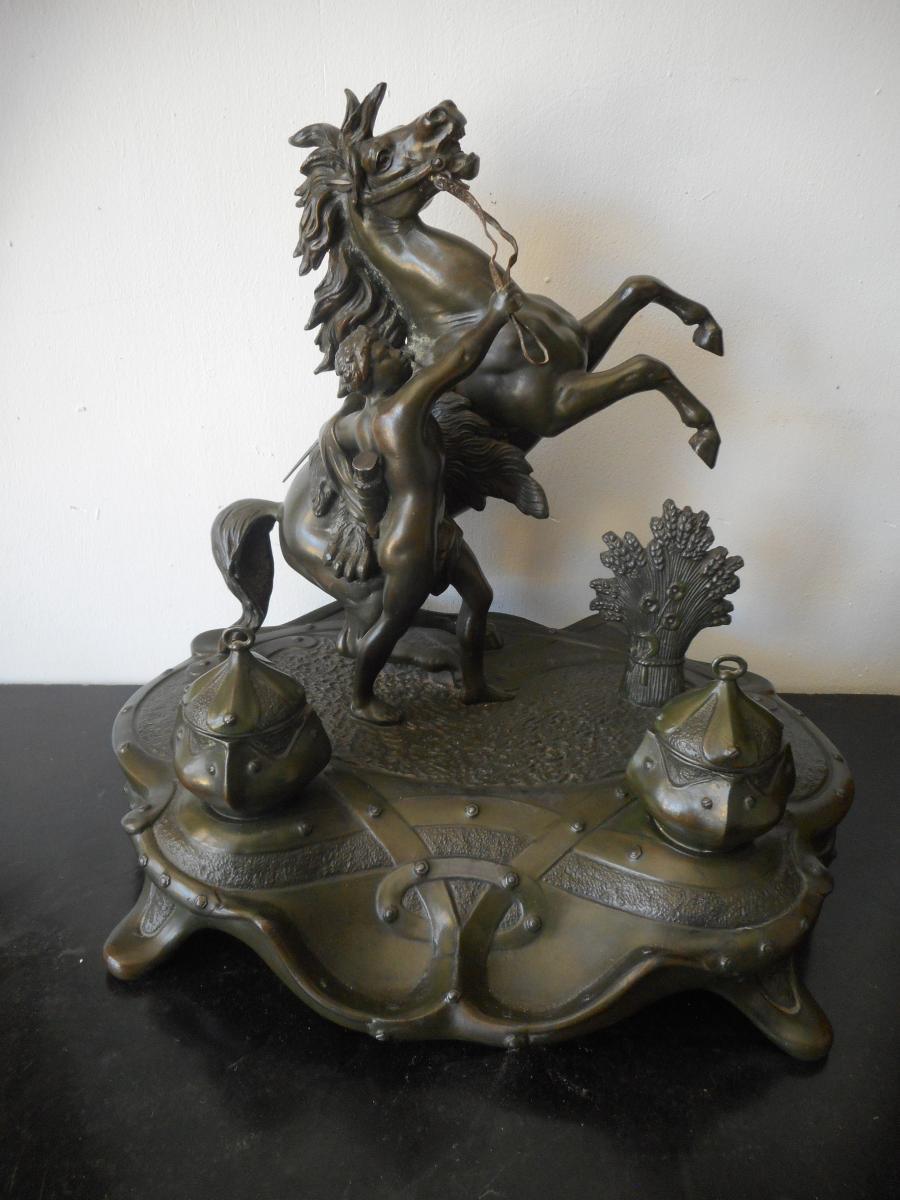 Grand encrier sculpture chevaux de Marly fin XIXème