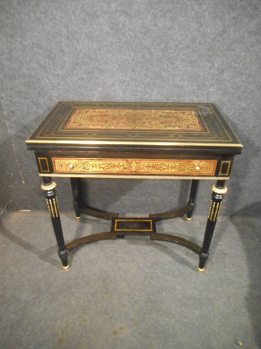 Table A Game Marquetry Boulle Napoleon III