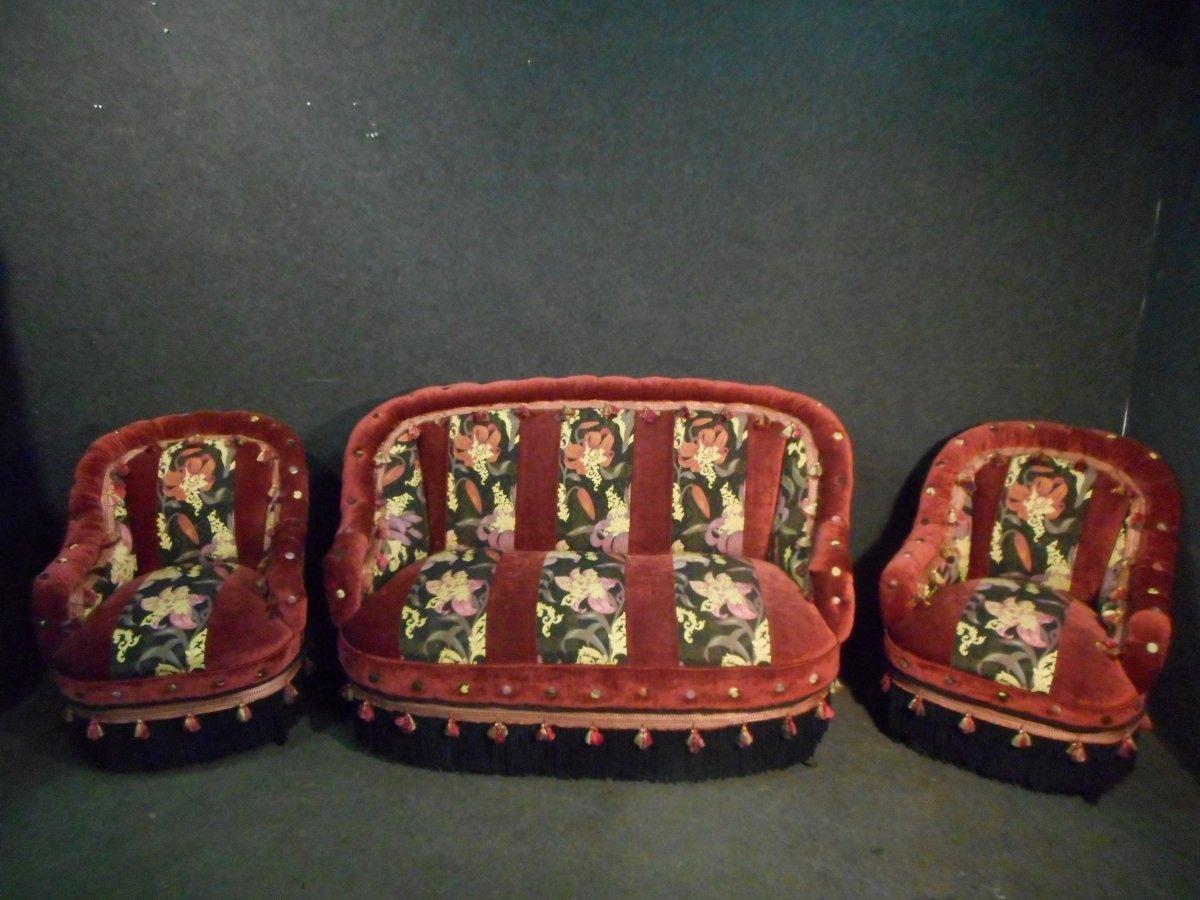 Ensemble De Salon époque Napoléon III Capitonné