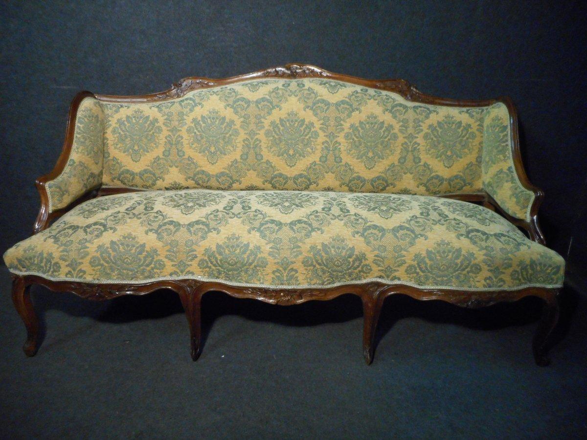 Louis XV Sofa In Walnut Stamped Jean Baptiste Boulard