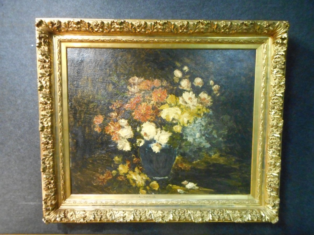 Large Painting Bouquet Of Flowers By Armand Jamar 1870-1946