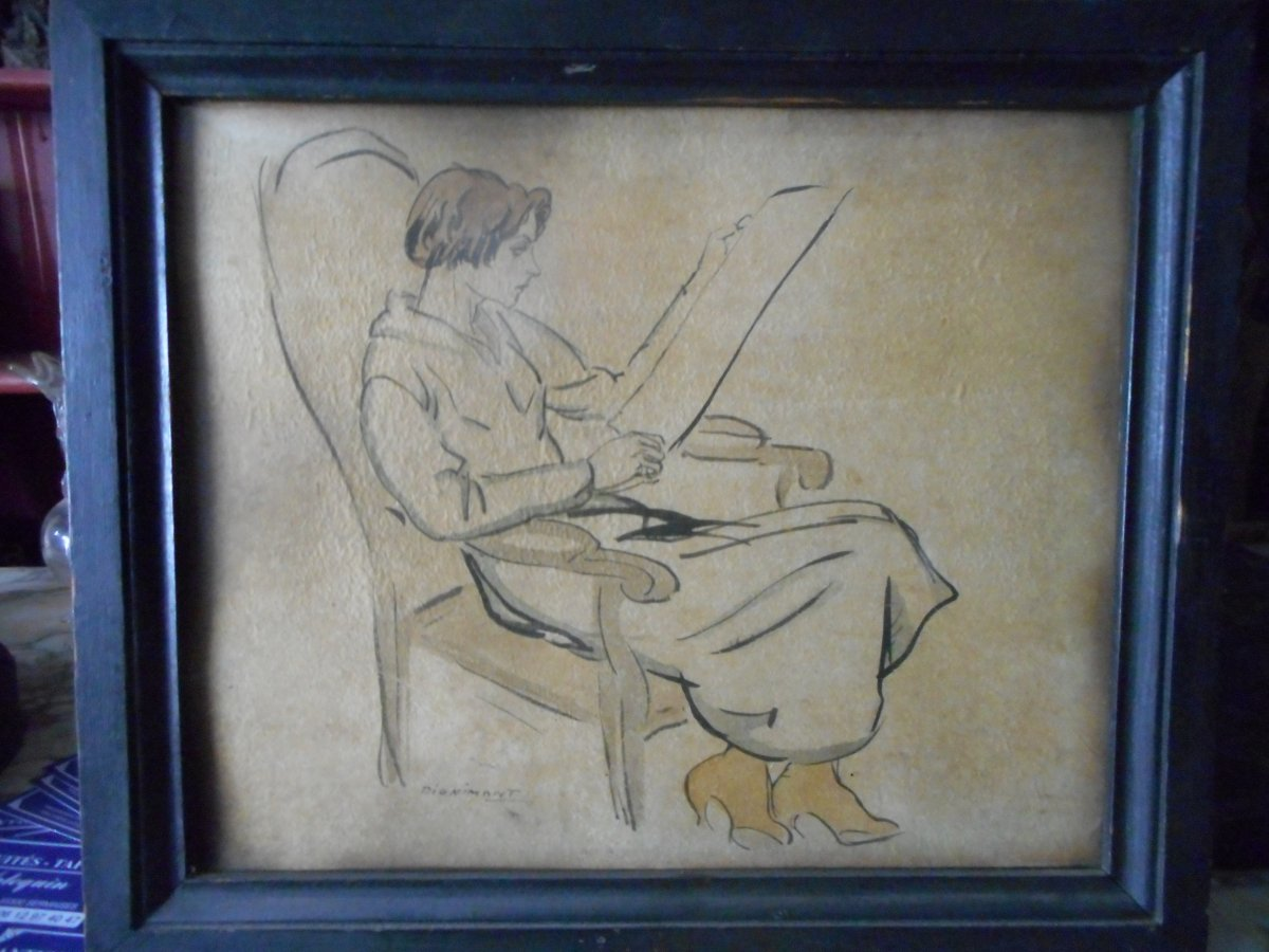 Drawing Woman Sign Andre Dignimont 1891-1965