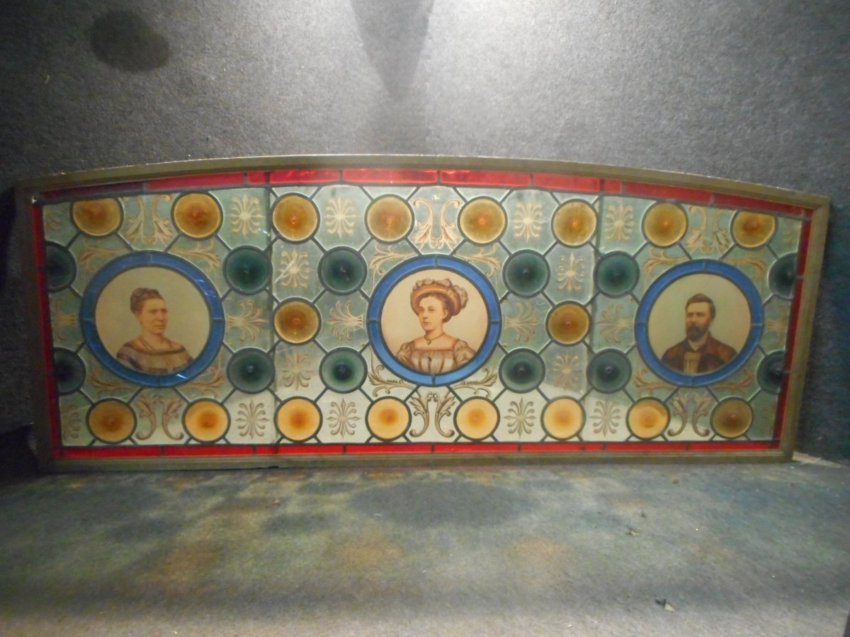 Stained Glass Window Nineteenth Portraits Manufacturer Of Belgian Brewery Beer