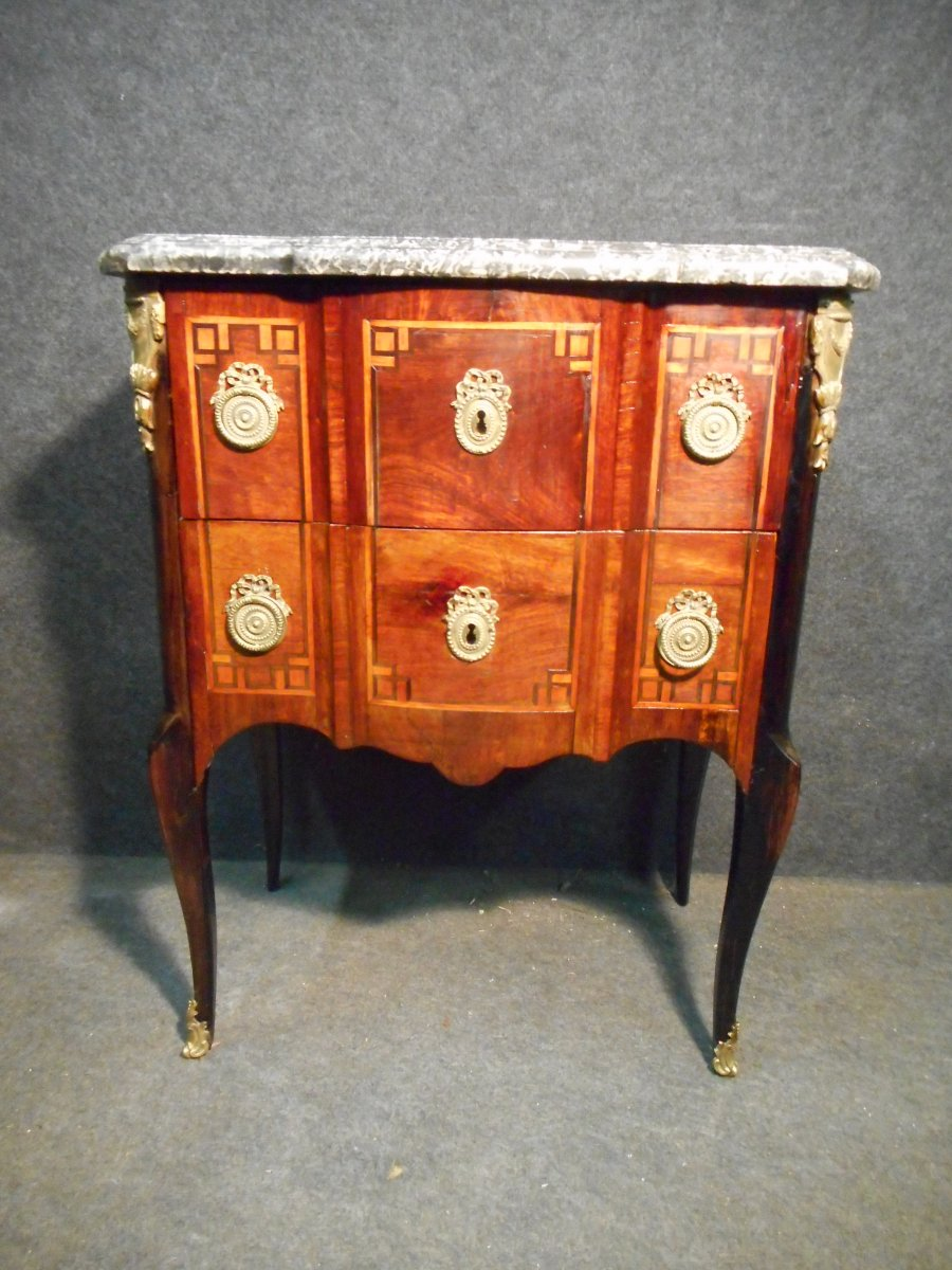 Commode In Marquetry And Gilt Bronze Eighteenth Time Stamped Wild Philippe Ambroise