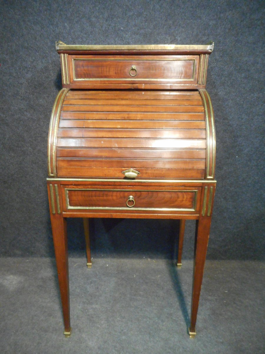 Small Child Cylinder Desk Late 18th Century In Mahogany