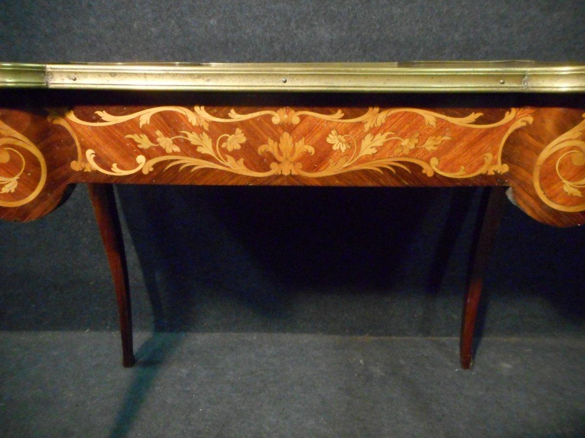 Bureau De Femme Galbé En Marqueterie et bronze doré époque Napoléon III-photo-2