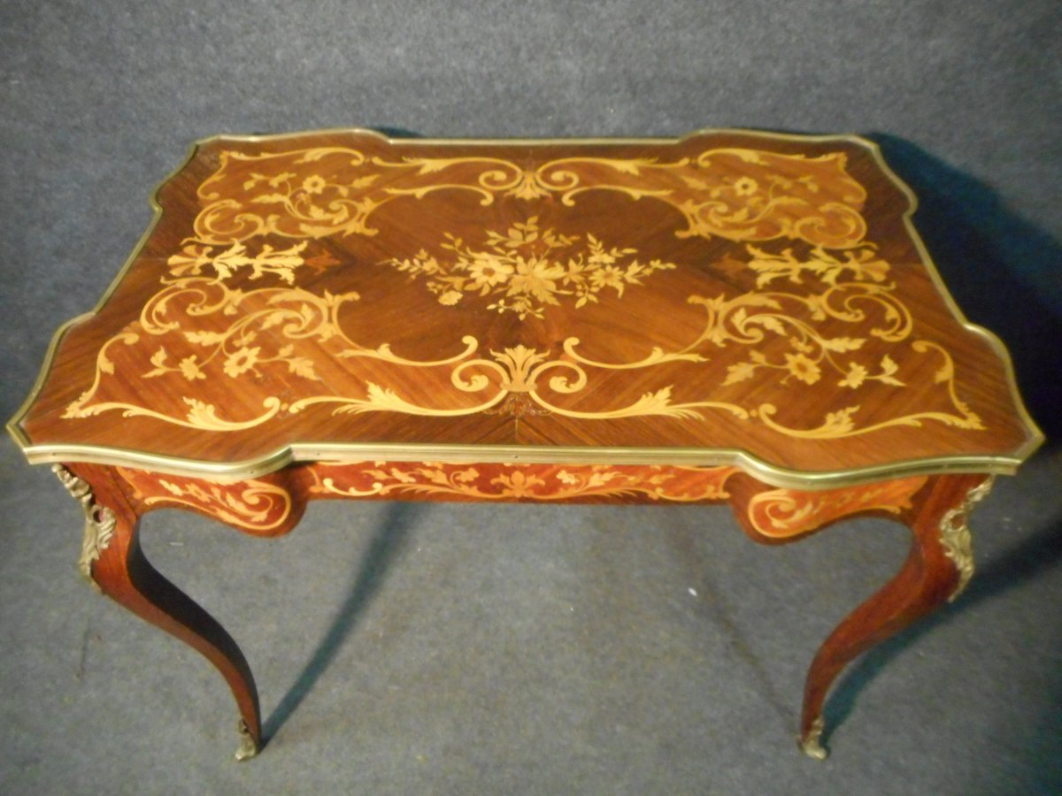 Bureau De Femme Galbé En Marqueterie et bronze doré époque Napoléon III-photo-3