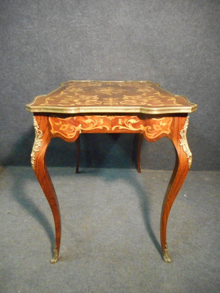 Bureau De Femme Galbé En Marqueterie et bronze doré époque Napoléon III-photo-8