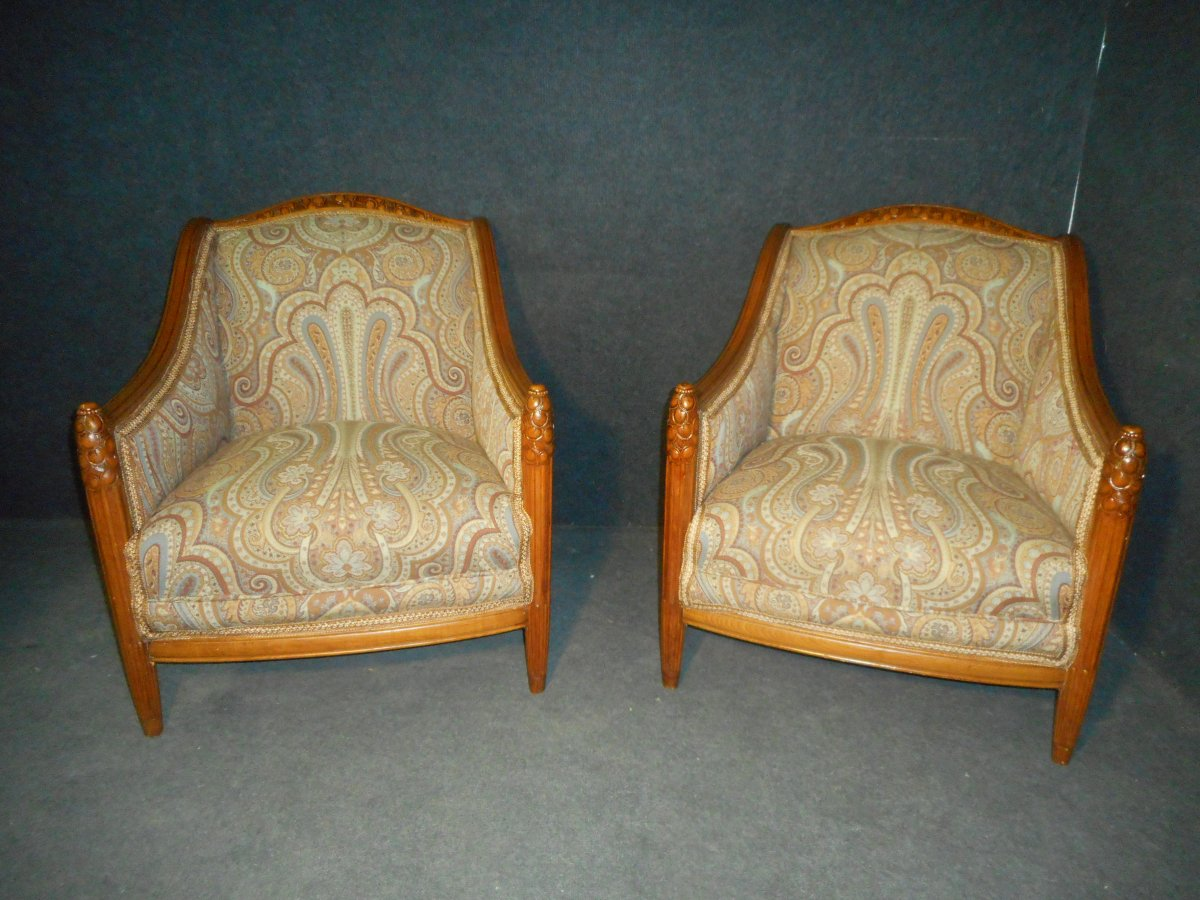 Large Pair Of Armchair Art Deco Period