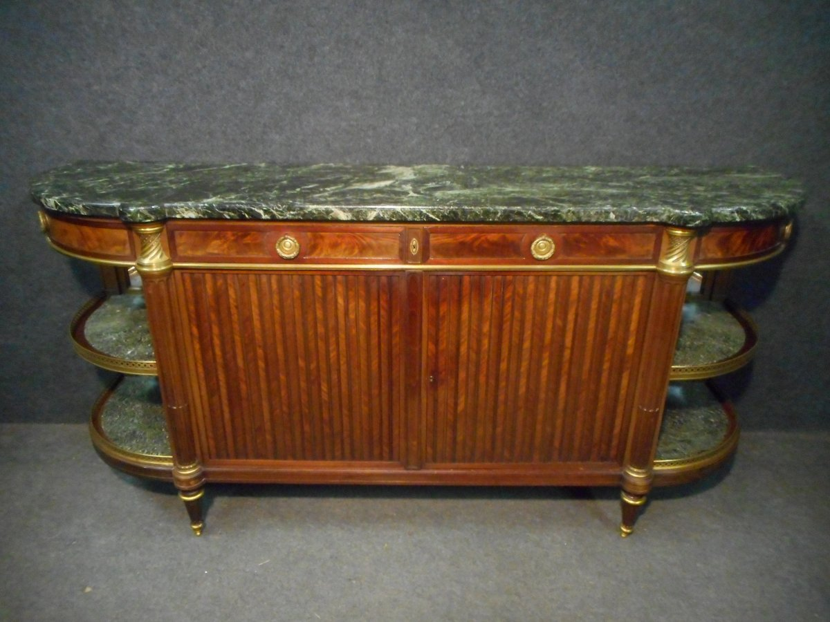 Sideboard In Marquetry And Gilt Bronze Napoleon III