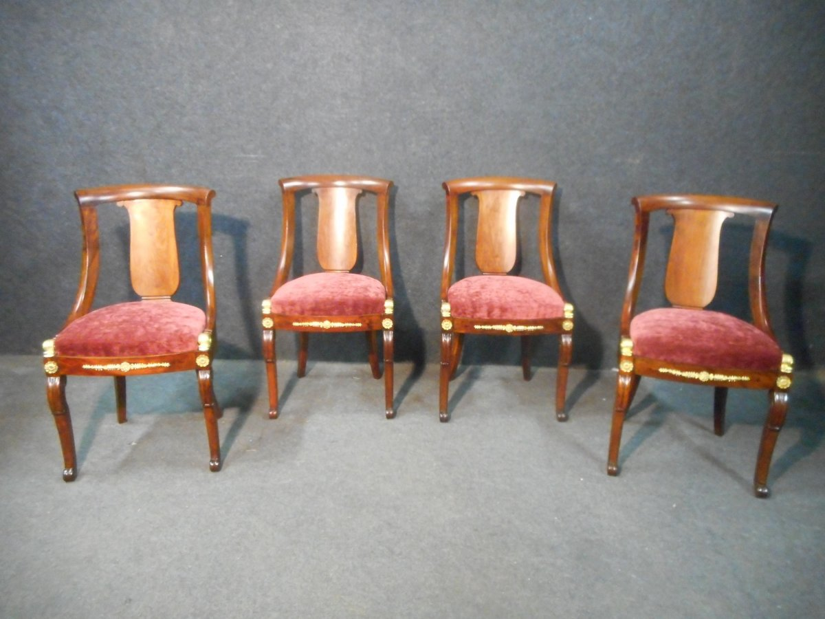 Series Of Cuban Mahogany Chairs Restoration Period Model With Dolphins