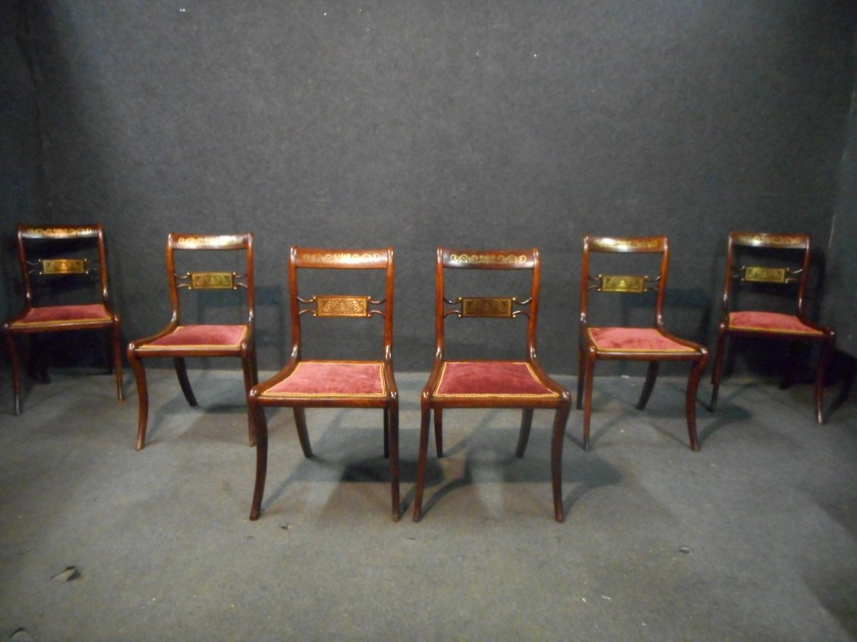 Series Of 19th Century Chairs In Rosewood And Brass Marquetry