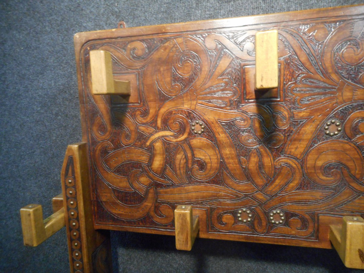 Coat Rack In Carved Wood Signed Deco Period-photo-4