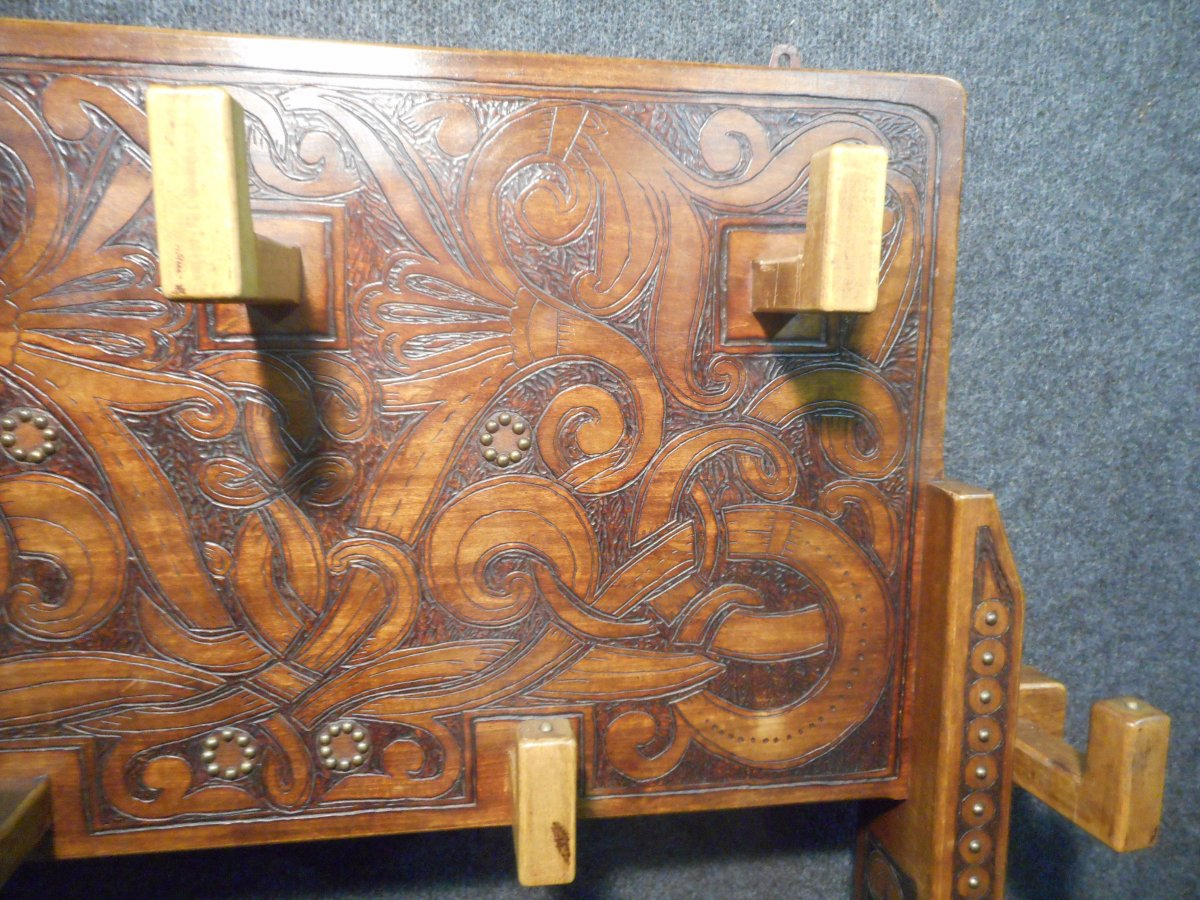 Coat Rack In Carved Wood Signed Deco Period-photo-1