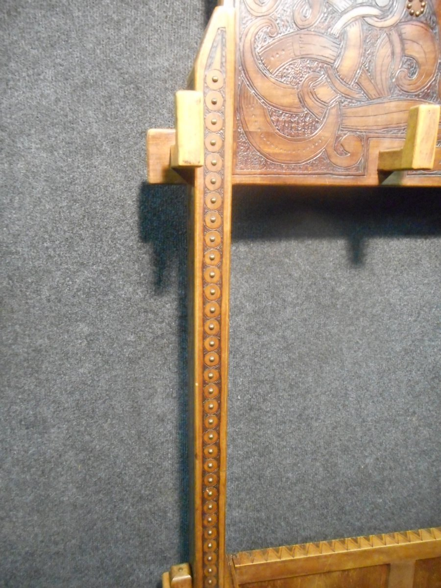 Coat Rack In Carved Wood Signed Deco Period-photo-2