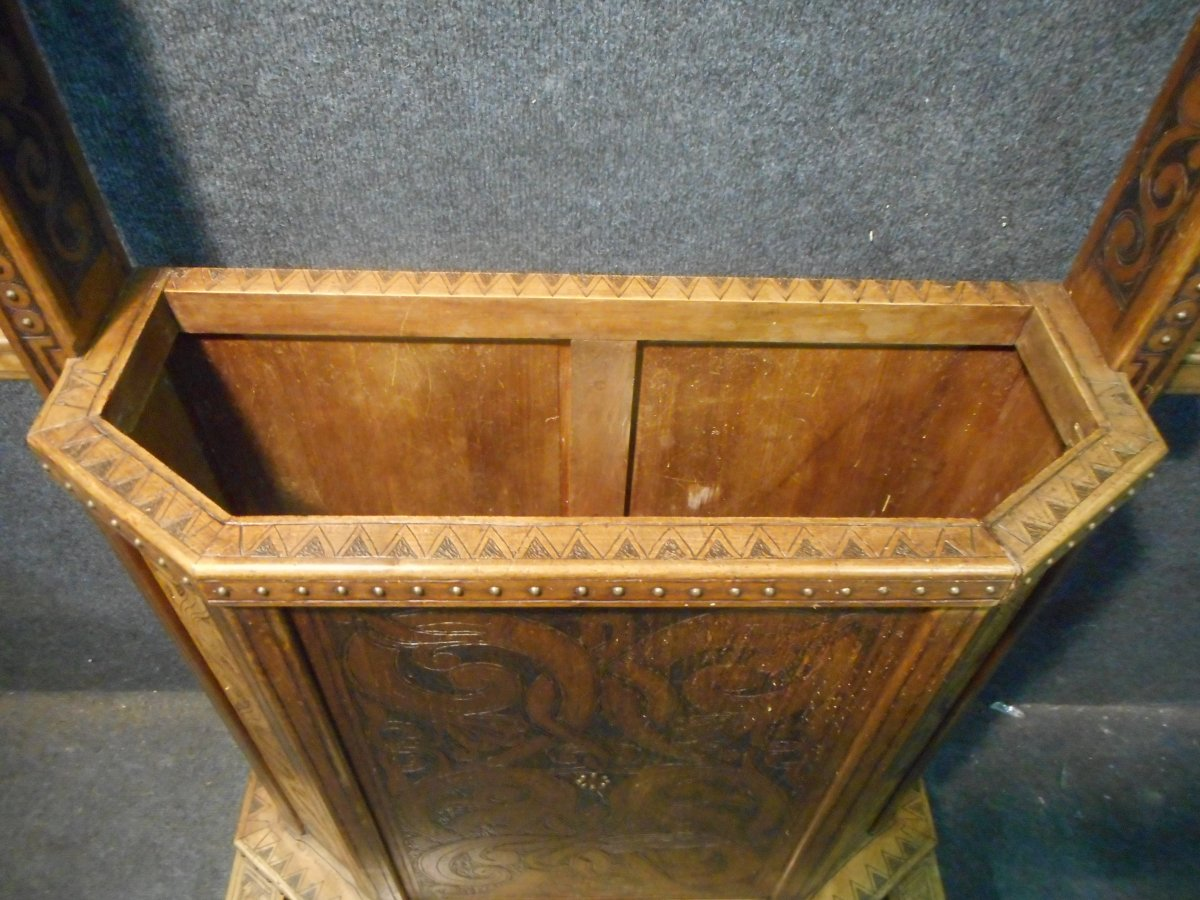 Coat Rack In Carved Wood Signed Deco Period-photo-3