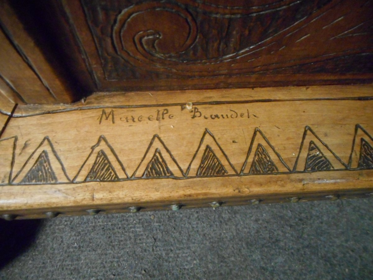 Coat Rack In Carved Wood Signed Deco Period-photo-5