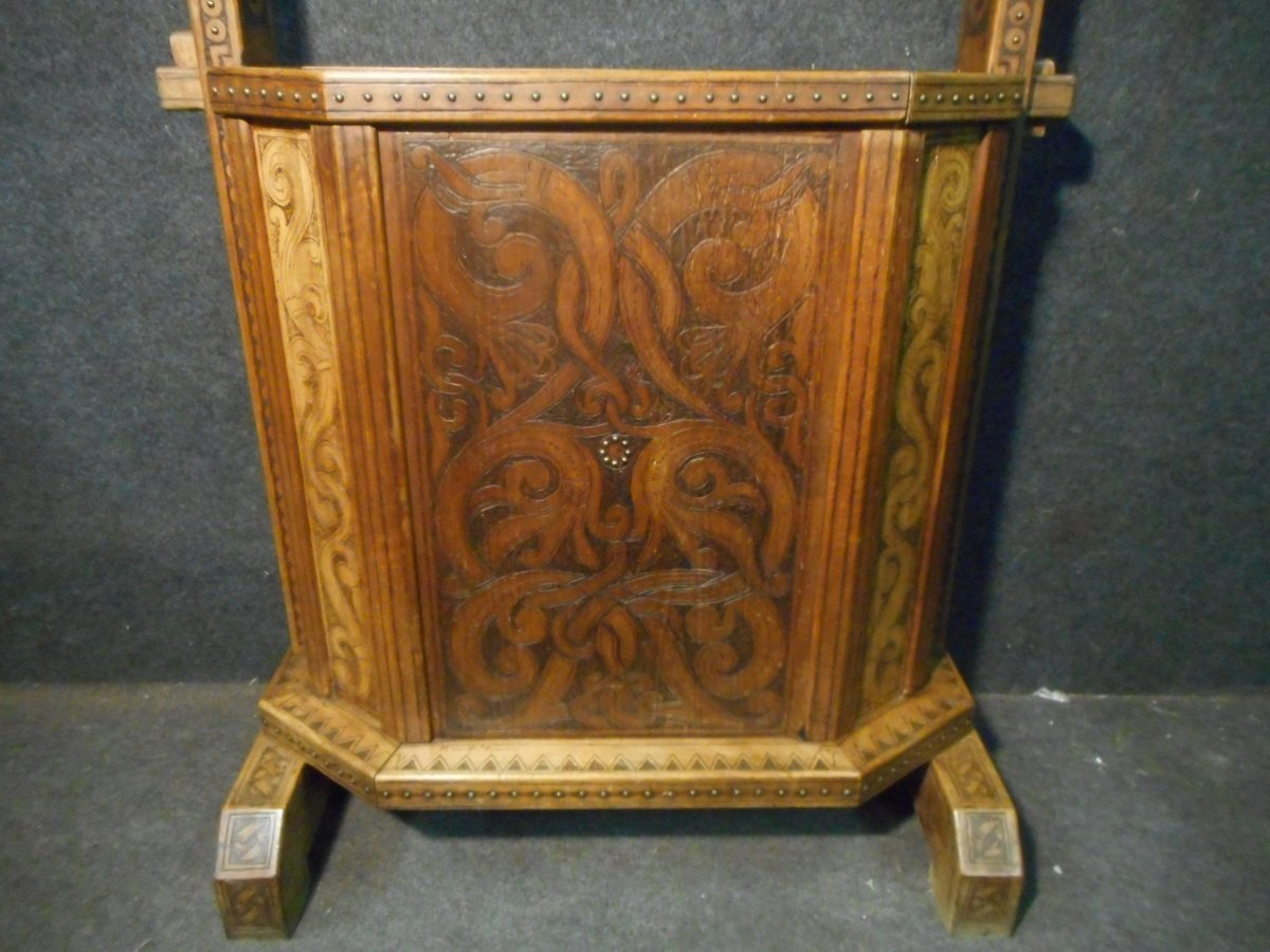 Coat Rack In Carved Wood Signed Deco Period-photo-7