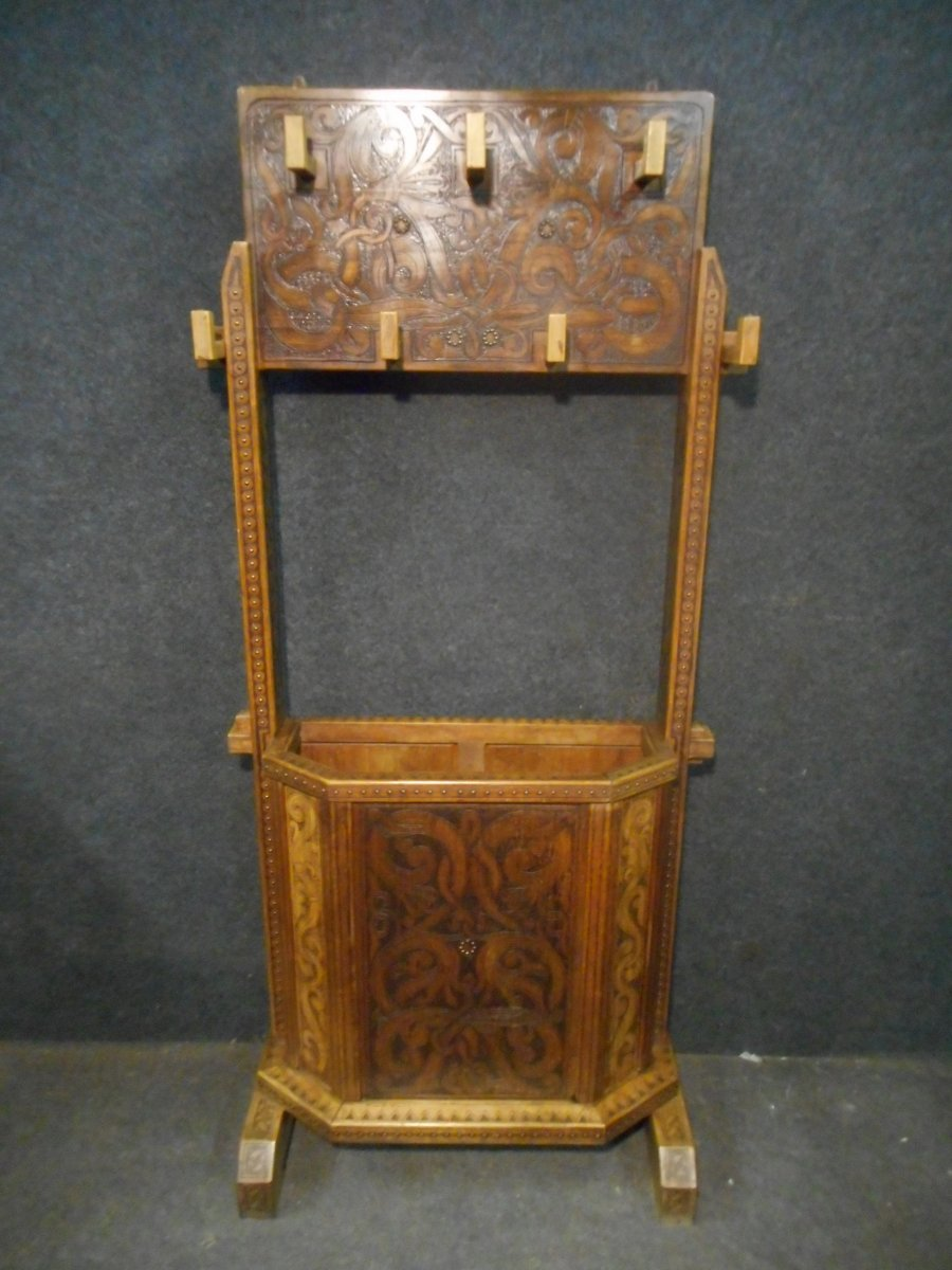 Coat Rack In Carved Wood Signed Deco Period