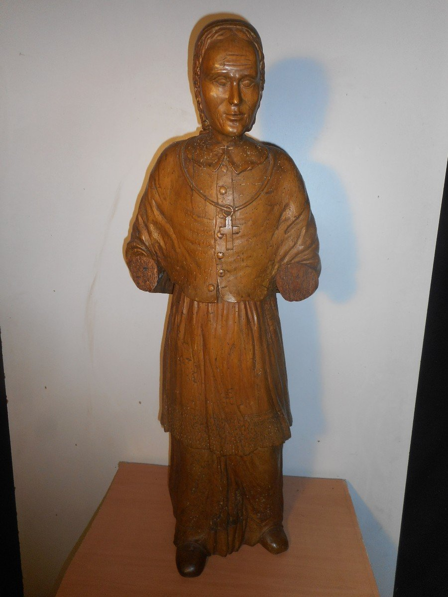 Large Religious Statue In Carved Lime 17th Century