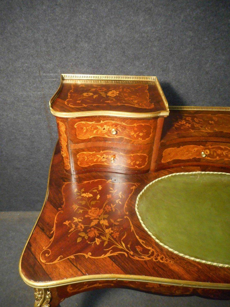 Bureau De Dame galbé époque Napoléon III En Marqueterie Et Bronze Doré -photo-1