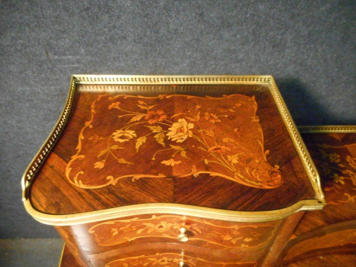 Bureau De Dame galbé époque Napoléon III En Marqueterie Et Bronze Doré -photo-3