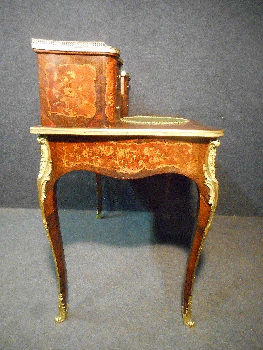 Bureau De Dame galbé époque Napoléon III En Marqueterie Et Bronze Doré -photo-6
