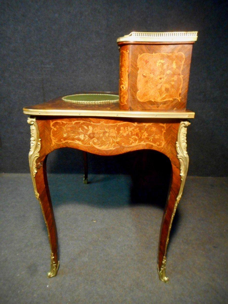 Bureau De Dame galbé époque Napoléon III En Marqueterie Et Bronze Doré -photo-8