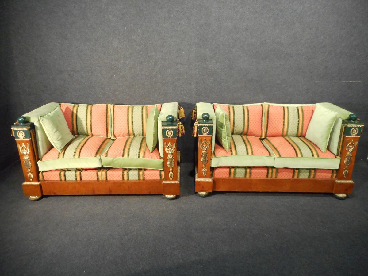 Paire De Canapé Style Empire Epoque Fin XIXème Grande Qualité
