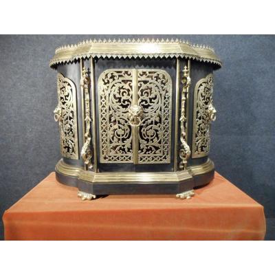 Rare Buffet Galbée Repose Plat Ferronnerie d'Art Et Bronze Doré Estampillé époque Napoléon III