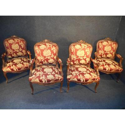 Set Of 4 Chairs Louis XV In Walnut XIX Entirely Retyped Time At Old